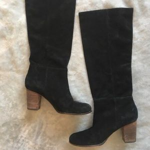 Cole Haan NikeAir Black Suede Knee High Boots 9